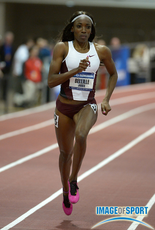 Mar 14, 2014; Albuquerque, NM, USA; Janeil Bellille of Texas A&M runs 52.74 in a womens 400m heat in the 2014 NCAA Indoor Championships at Albuquerque Convention Center.