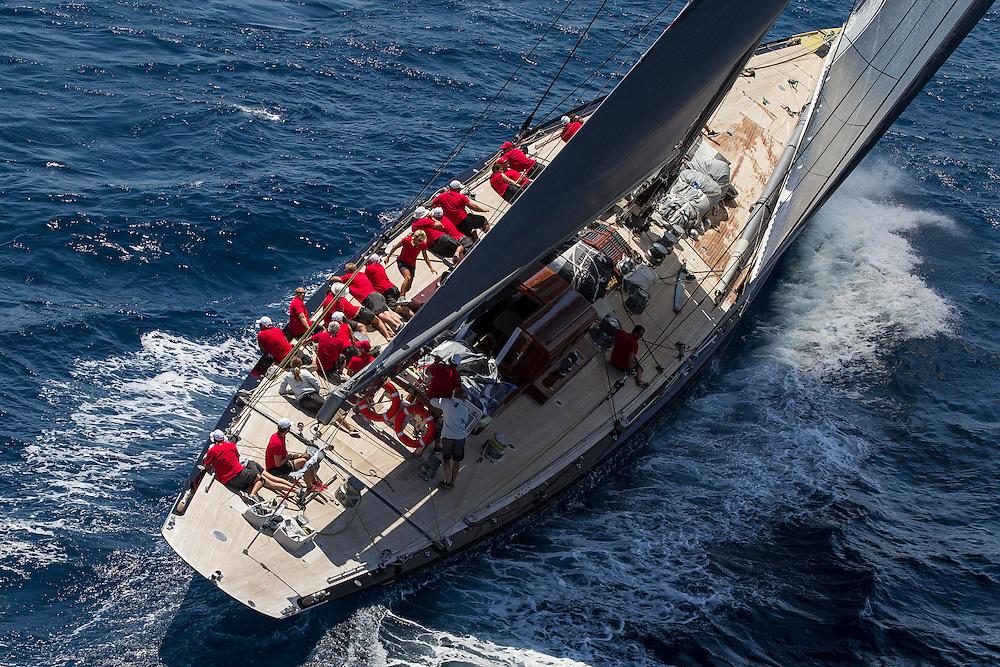 SPAIN, Palma. 21st June 2013. Superyacht Cup. J Class. Race three, coastal race. Rainbow.