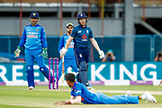 England ODI Captain & Batsman Eoin Morgan decides against the run during the 3rd Royal London ODI match between England and India at Headingley Stadium, Headingley, United Kingdom on 17 July 2018. Picture by Simon Davies.