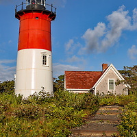 Nauset Lighthouse and keepers' quarters. Cape Cod National Seashore, Massachusetts