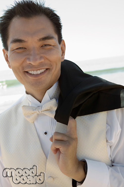 Smiling Groom on Beach