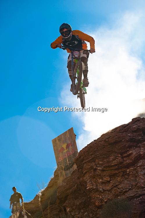 Alex Prochazka cliff drop at 2010 Red Bull Rampage in Virgin, Utah