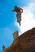 Alex Prochazka cliff drop at 2010 Red Bull Rampage in Virgin, Utah