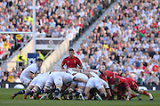 Twickenham Great Britain. Englands', Danny CARE, 'put in the ball to the scrum', watched by Rhys WEBB,  during the 2014 RBS Six Nations Rugby; England vs Wales, at the RFU Stadium, Twickenham, England.   [Mandatory Credit; Peter Spurrier/Intersport-images]