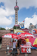 An ice cream vendor in Lujiazui Pudong Shanghai, China