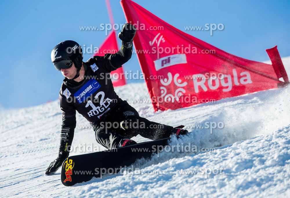 Nevin Galmarini of Switzerland competes during Qualification Run of Men's Parallel Giant Slalom at FIS Snowboard World Cup Rogla 2015, on January 31, 2015 in Course Jasa, Rogla, Slovenia. Photo by Vid Ponikvar / Sportida