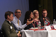 "Panel featuring (l-r) Colin McCann, Associate Director of First Year Programs and Leadership Development at Marist College, Vince DiGrandi, principal of the Mahopac Middle School, Sherry Levin Wallach, principal and partner at Wallach and Rendo, LLP, Dr. Allison Nied, pediatrician at Care Mount Medical, and Dr. Jennifer Powell-Lunder, clinical psychologist, at The Harvey School and Katonah-Lewisboro SEPTA present ""Screenagers"",  a film and Forum  in The Walker Center for the Arts at the Harvey School on November 29, 2016. (photo by Gabe Palacio)"