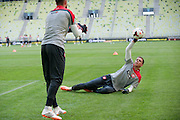 Poland's goalkeeper Wojciech Szczesny while official training one day before international friendly match between Poland and Lithuania at PGE Arena in Gdansk, Poland.<br /> <br /> Poland, Gdansk, June 05, 2014<br /> <br /> Picture also available in RAW (NEF) or TIFF format on special request.<br /> <br /> For editorial use only. Any commercial or promotional use requires permission.<br /> <br /> Mandatory credit:<br /> Photo by &copy; Adam Nurkiewicz / Mediasport