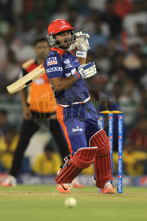 Kedar Jadhav of the Delhi Daredevils bats during match 45 of the Pepsi IPL 2015 (Indian Premier League) between The Delhi Daredevils and the Sunrisers Hyderabad held at the Shaheed Veer Narayan Singh International Cricket Stadium in Raipur, India on the 9th May 2015.<br /> <br /> Photo by:  Deepak Malik / SPORTZPICS / IPL