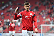 Milan Djuric (22) of Bristol City warming up before the EFL Sky Bet Championship match between Bristol City and Hull City at Ashton Gate, Bristol, England on 21 April 2018. Picture by Graham Hunt.