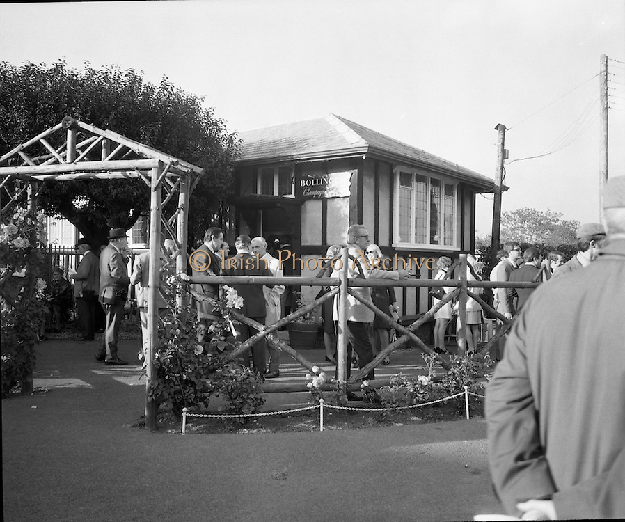 The Bollinger Bar at Phoenix Park..1972..07.10.1972..10.07.1972..7th October 1972..As part of the Phoenix Park races Bollinger opened a bar to facilitate the Champagne tastes of the racegoers...Picture of a general view of The Bollinger Champagne Bar which was opened today at the Phoenix Park racecourse.