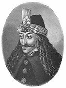 Vlad Tepes (Vlad IV, The Impaler) Ruler of Walachia 1456-62, 1476-77. Apparently the source of the Dracula of Translyvanian legend as Vlad member of Order of the Dragon (dracul). Engraving.
