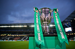 MILTON KEYNES, ENGLAND - Wednesday, September 25, 2019: The Football League Cup trophy on display before the Football League Cup 3rd Round match between MK Dons FC and Liverpool FC at Stadium MK. (Pic by David Rawcliffe/Propaganda)