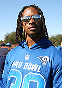 Jan 24, 2018; Kissimmee, FL, USA; Los Angeles Rams running back Todd Gurley (30) talks to reporters after practice for the 2018 Pro Bowl at ESPN Wide World of Sports Complex. (Steve Jacobson/Image of Sport)