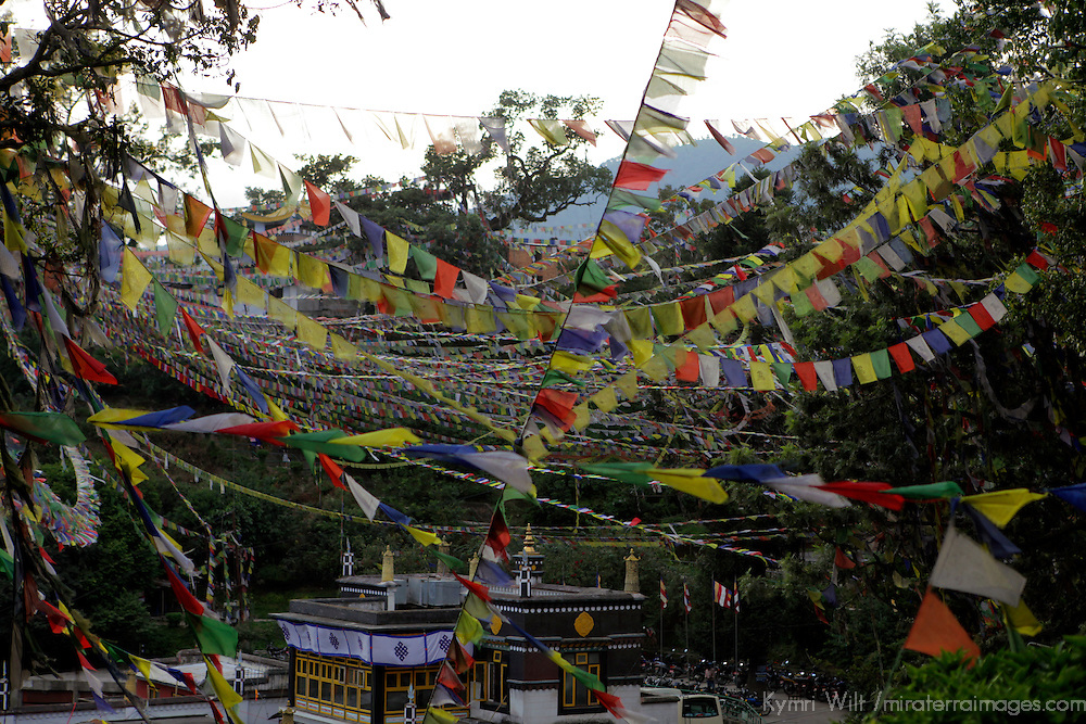 Nepal, Kathmandu. Prayer Flags at Swayambunath Temple.