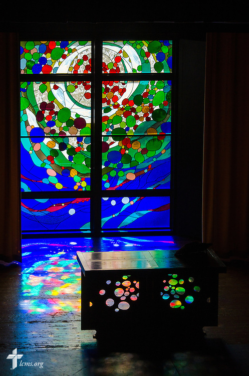 Stained glass in the chapel of Weller Hall on Monday, July 28, 2014, at Concordia University, Nebraska, in Seward, Neb. LCMS Communications/Erik M. Lunsford