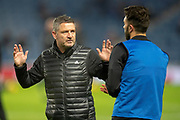Abderdeen assistant manager Tony Docherty speaks with Connor McLennan (#27) of Aberdeen FC the Ladbrokes Scottish Premiership match between Rangers and Aberdeen at Ibrox, Glasgow, Scotland on 5 December 2018.