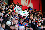 Bournemouth fans with AFCB tin foil FA Cups before the The FA Cup match between Bournemouth and Everton at the Goldsands Stadium, Bournemouth, England on 20 February 2016. Photo by Graham Hunt.