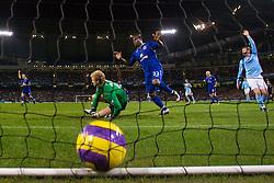MANCHESTER, ENGLAND - Monday, February 25, 2008: Everton's Yakubu Ayegbeni scores the opening goal past Manchester City's goalkeeper Joe Hart during the Premiership match at the City of Manchester Stadium. (Photo by David Rawcliffe/Propaganda)