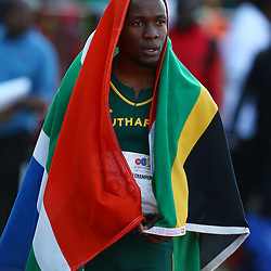 Durban, SOUTH AFRICA, 23,June, 2016 - Final of the Men senior 100m (L) Akani Simbine of South Africa during Day 2 The 20th CAA African Senior Athletics Championships will take place at the Kings Park Athletics Stadium in Durban, South Africa from June 22-26, 2016. (Photo by Steve Haag)
