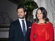 Stockholm, 19 February 2016<br /> <br /> Queen Silvia, Prince Carl Phillip and Princess Sofia attend the Royal Swedish Academy of Fine Arts' formal gathering<br /> <br /> <br /> <br /> Royalportraits Europe/Bernard Ruebsamen
