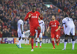 LIVERPOOL, ENGLAND - Thursday, November 26, 2015: Liverpool's Christian Benteke celebrates scoring the second goal against FC Girondins de Bordeaux with a dance during the UEFA Europa League Group Stage Group B match at Anfield. (Pic by David Rawcliffe/Propaganda)