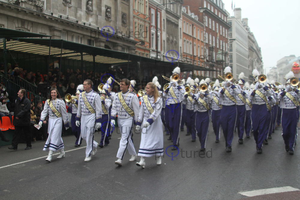 James Madison University Marching Royal Dukes London's New Year's Day Parade, City of Westminster, London, UK, 01 January 2011:  Contact: Ian@Piqtured.com +44(0)791 626 2580 (Picture by Richard Goldschmidt)