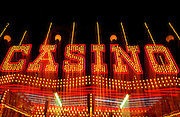 Image of a neon casino sign on The Strip in Las Vegas, Nevada, American Southwest