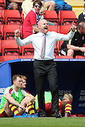 Burnley manager Sean Dyche shouting during the Sky Bet Championship match between Charlton Athletic and Burnley at The Valley, London, England on 7 May 2016. Photo by Matthew Redman.