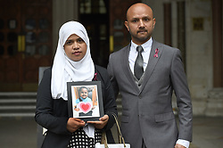 Shelina Begum and husband Mohammed Raqeeb outside the Royal Courts of Justice in London, where they have won a ruling on whether treatment should be stopped for their five-year-old daughter Tafida Raqeeb.