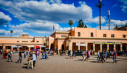 General scene of Jemaa El Fna, a Unesco World Heritage Site, in Marrakech, Morocco, North Africa<br /> <br /> (c) Andrew Wilson | Edinburgh Elite media