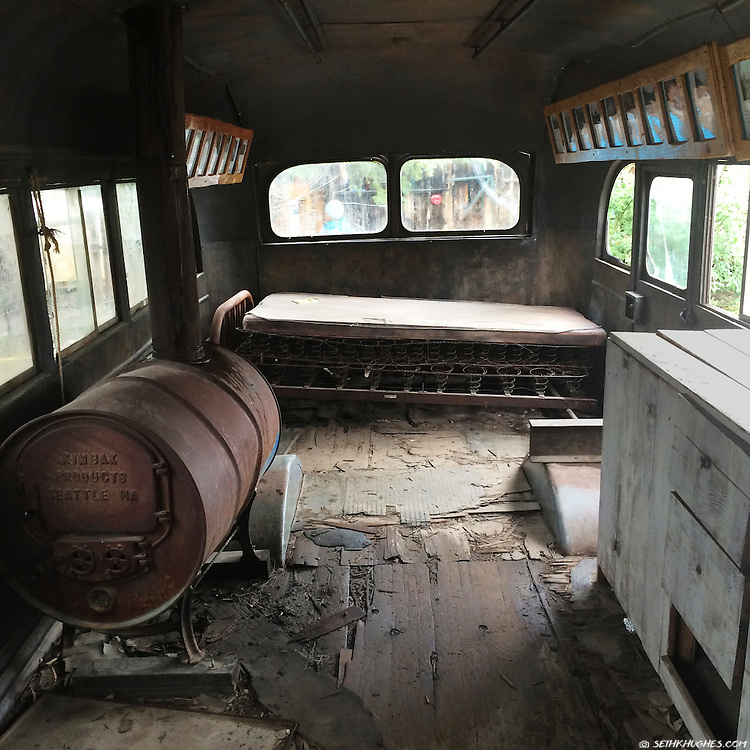 The magic bus used in the biopic movie, Into The Wild, sits now as a memorial to Christopher McCandless in the town of Healy, Alaska.