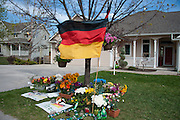 A memorial in front of the home in the Grant Creek neighborhood of Missoula, Montana, on May 2, 2014, where German exchange student, Diren Dede, who was shot and killed by neighbor, Markus Kaarma, lived with his host family.