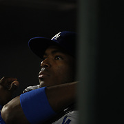 Yasiel Puig, Los Angeles Dodgers, in the dugout during the New York Mets Vs Los Angeles Dodgers, game four of the NL Division Series at Citi Field, Queens, New York. USA. 13th October 2015. Photo Tim Clayton
