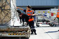 Demonstration des douaniers de l'Aéroport Charles de Gaule lors de la visite de Pierre Moscovici Ministre des Finances, le 11 aout 2013 à l'Aéroport Charles de Gaule.