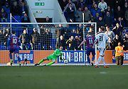 24th March 2018, McDiarmid Park, Perth, Scotland; Scottish Football Challenge Cup Final, Dumbarton versus Inverness Caledonian Thistle; Dumbarton goalkeeper Scott Gallacher saves Iain Vigurs of Inverness Caledonian Thistle' s penalty