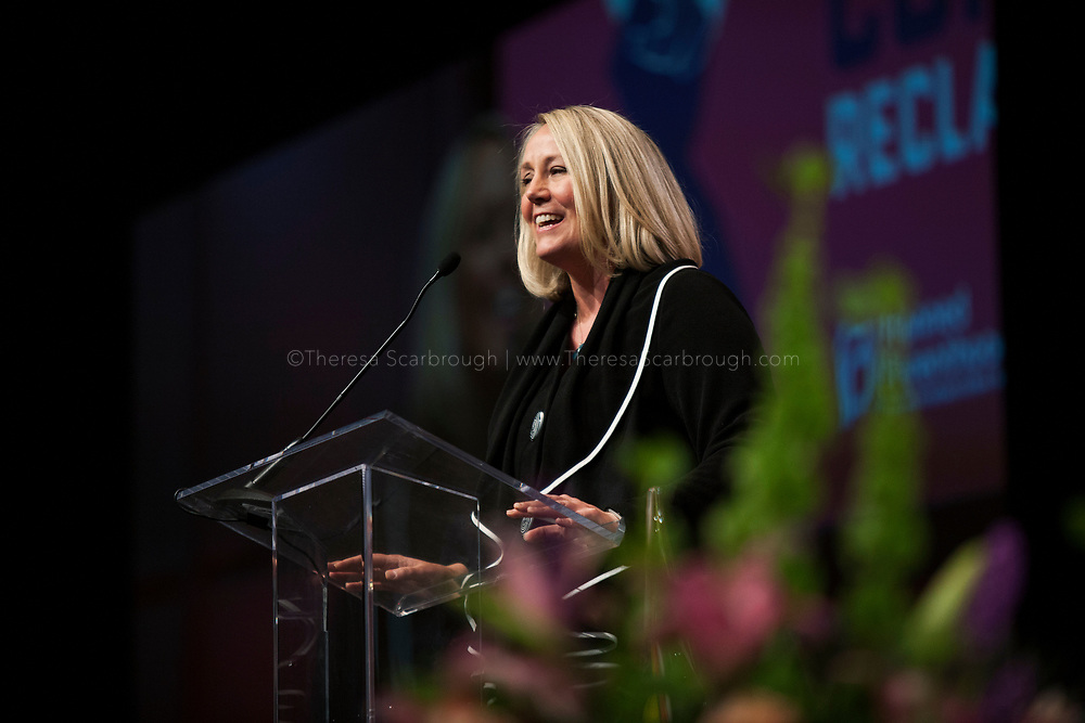 Detroit, Michigan, USA. 28th Oct, 2017. Stephanie Schriock, President of Emily's list, speaks at the Sojourner Truth Lunch during the Women's Convention held at the Cobo Center, Detroit Michigan, Saturday, October 28, 2017