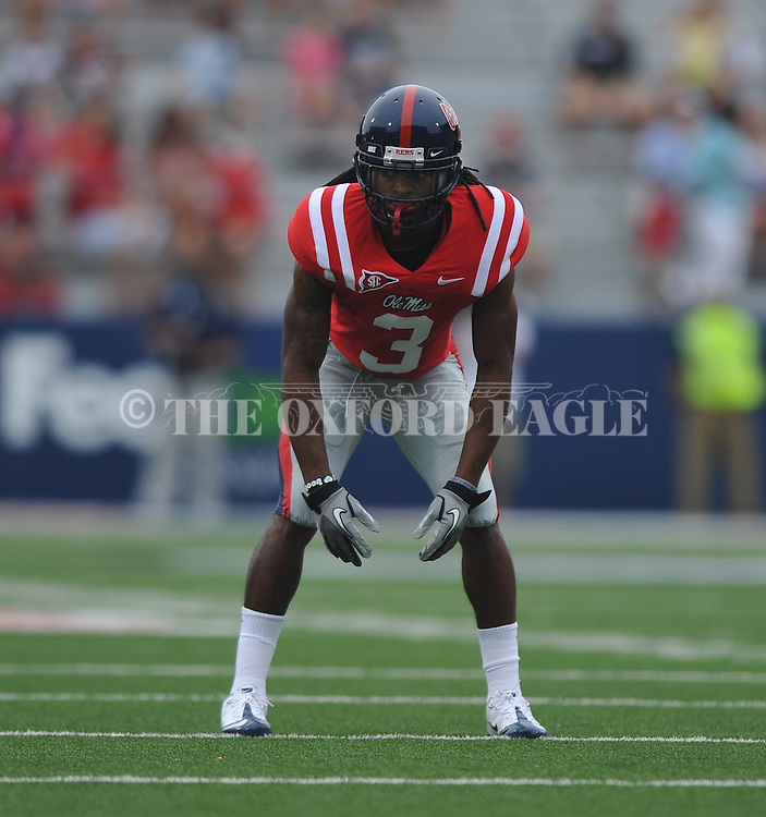 Ole Miss' Charles Sawyer (3) lines up at Vaught-Hemingway Stadium in Oxford, Miss. on Saturday, September 3, 2011. BYU won 14-13.
