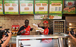 KUALA LUMPUR, MALYASIA - Thursday, July 23, 2015: Liverpool's Mamadou Sakho and Jordon Ibe make Subway sandwiches for supporters during an event at the Paradigm Mall on day eleven of the club's preseason tour. (Pic by David Rawcliffe/Propaganda)