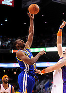 Jan. 2, 2012; Phoenix, AZ, USA; Golden State Warriors forward Ekpe Udoh (20) reacts on the court against the Phoenix Suns at the US Airways Center. The Suns defeated the Warriors 102-91. Mandatory Credit: Jennifer Stewart-US PRESSWIRE.