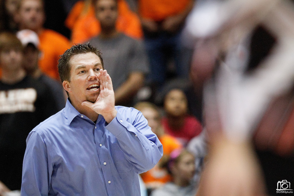 Lovejoy's head coach, Ryan Mitchell, calls out to his team in the Class 4A state championship match against Aledo at the Curtis Culwell Center in Garland, Texas, on November 17, 2012.  (Stan Olszewski/The Dallas Morning News)
