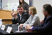 Chris Matheny, left, speaks during the Cap Times Idea Fest 2018 at the Pyle Center in Madison, Wisconsin, Saturday, Sept. 29, 2018.