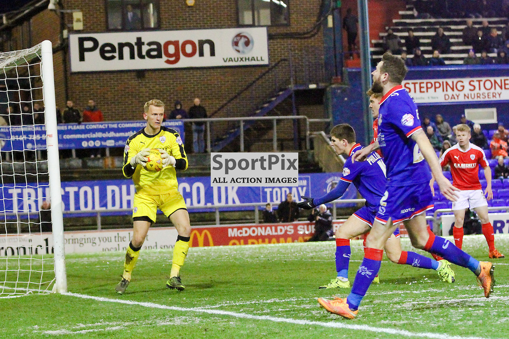 Goalkeeper Adam Davies of Barnsley making a save during Oldham v Barnsley, Sky Bet League One, 21 November 2015,  (c) Jackie Meredith/SportPix.org.uk