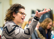 Wyandanch, New York, USA. March 26, 2017. GENNA HANAN, in audience, asks question during Politics 101 event, the first of series of activist training workshops for members of TWW LI, the Long Island affiliate of national Together We Will.