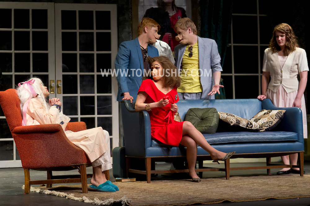 """Middletown, New York - Students from The Apprentice Players of the SUNY Orange Arts & Communications Department in a dress rehearsal of """"Freakshow"""" and """"Death Comes to Us All, Mary Agnes"""" at Orange Hall Theatre on April 10, 2014."""