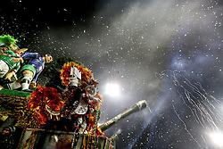 """A float of """"Mancha Verde"""" takes part in the first night of the parade of samba schools of the Carnival, in the Anhembi Sambadrome, in Sao Paulo, Brazil, on Feb. 13, 2015. EXPA Pictures © 2015, PhotoCredit: EXPA/ Photoshot/ [e]Rahel Patrasso<br /> <br /> *****ATTENTION - for AUT, SLO, CRO, SRB, BIH, MAZ only*****"""
