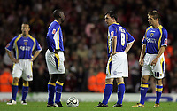 Photo: Paul Thomas.<br /> Liverpool v Cardiff City. Carling Cup. 31/10/2007.<br /> <br /> Dejected (L-R) Gavin Rae, Jimmy Floyd Hasselbaink, Robbie Fowler and Stephen McPhail after Liverpool score.