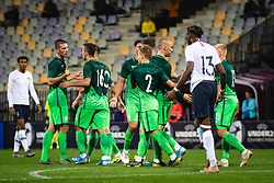 Players of Slovenia celebrating second goal during friendly Football match between U21 national teams of Slovenia and France, on September 8, 2019 in Ljudski Vrt, Maribor, Slovenia. Photo by Blaž Weindorfer / Sportida