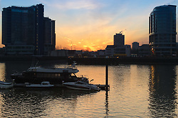 London, February 24th 2016. The sun rises over the Thmaes, viewed from Imperial Wharf, on a chilly but clear morning in London. &copy;Paul Davey<br /> FOR LICENCING CONTACT: Paul Davey +44 (0) 7966 016 296 paul@pauldaveycreative.co.uk