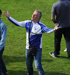 furious Bristol Rovers fan looks up to the directors box  with his arms up in the air. - Photo mandatory by-line: Alex James/JMP - Mobile: 07966 386802 03/05/2014 - SPORT - FOOTBALL - Bristol - Memorial Stadium - Bristol Rovers v Mansfield - Sky Bet League Two